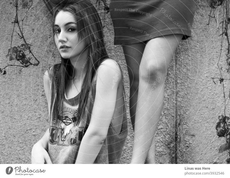Ein wunderschönes brünettes Model blickt direkt in die Kamera. Ihre großen schwarzen Augen gehen direkt durch alles hindurch. Auch die Beine der anderen Models sind in der Komposition direkt neben dieser Schönheit.