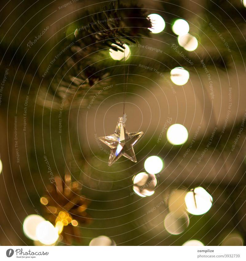 Glas-Stern am Weihnachtsbaum Engel Dekoration & Verzierung glizern Tanne Tannenzweig Nadeln Christbaumkugel Christbaumschmuck Lichterkette dekorieren