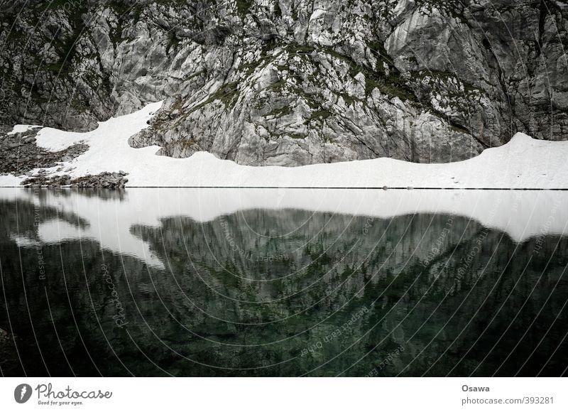 Seeleinsee Umwelt Natur Landschaft Urelemente Erde Wasser Sommer Felsen Alpen Berge u. Gebirge Berchtesgadener Alpen Seeufer kalt trist kahl Schnee