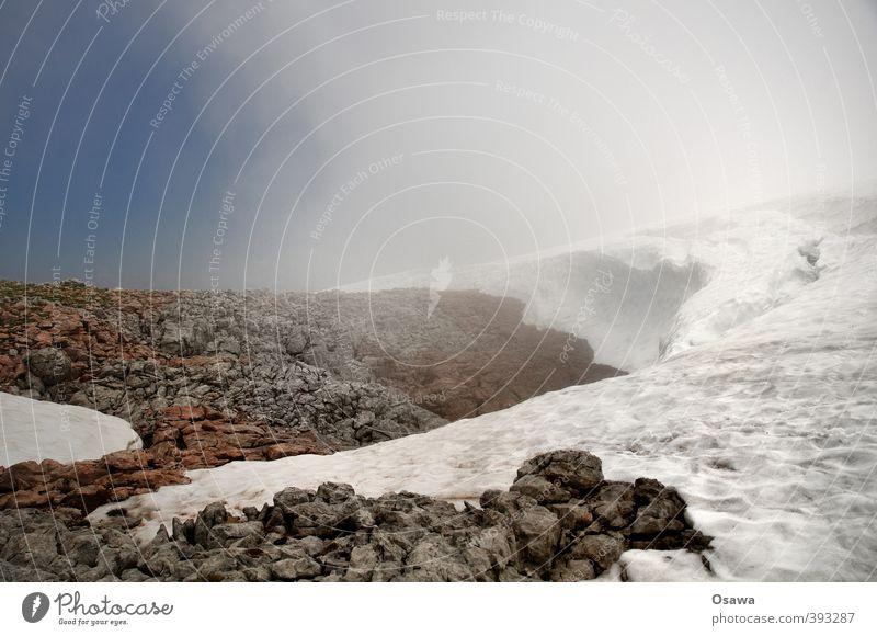 Schneewehe Umwelt Natur Landschaft Urelemente Erde Wasser Himmel Wolken Sommer Klima Klimawandel Wetter Schönes Wetter schlechtes Wetter Nebel Hügel Felsen