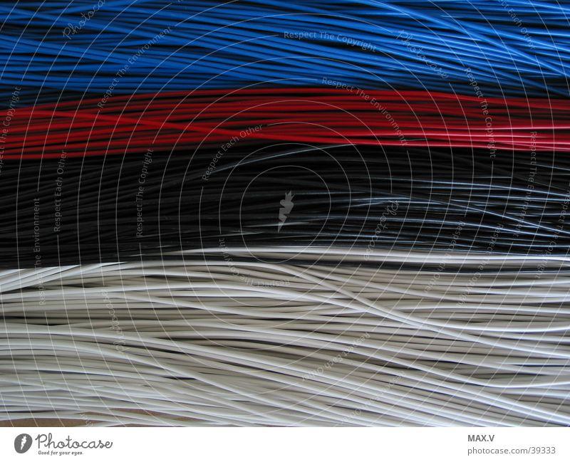 Litzen, Verbindungen rot schwarz weiß Elektrisches Gerät Technik & Technologie blau