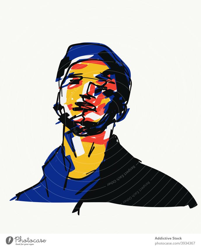 Illustration eines Mannes in stilvollem Outfit Hipster tausendjährig trendy Stil gutaussehend cool Bekleidung Vektor Grafik u. Illustration Vorlage Design