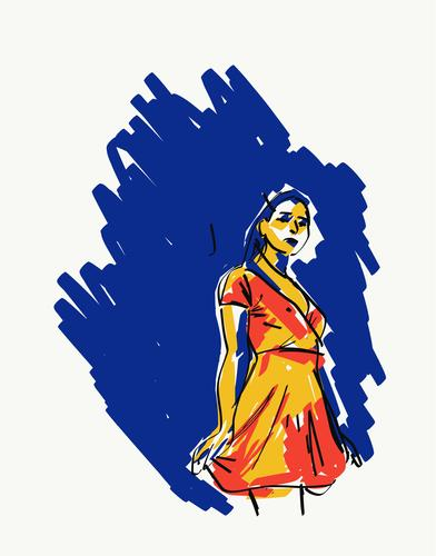 Illustration einer jungen Frau Vektor Grafik u. Illustration Element Vorlage Design digital Angebot Harmonie feminin filigran schlank Anmut schlanke rein