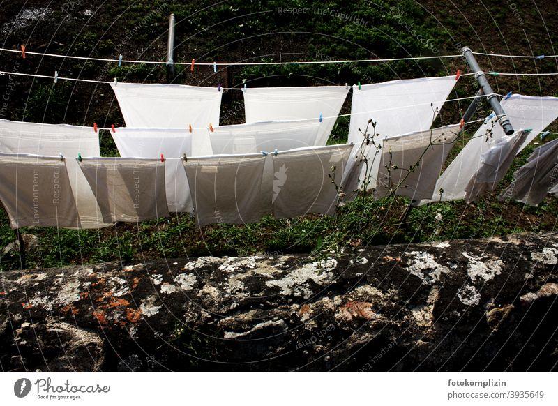 Blick über die Mauer auf Wäscheleinen mit weißen Laken Wäsche waschen Waschtag Haushalt Häusliches Leben Sauberkeit Haushaltsführung Alltagsfotografie trocknen