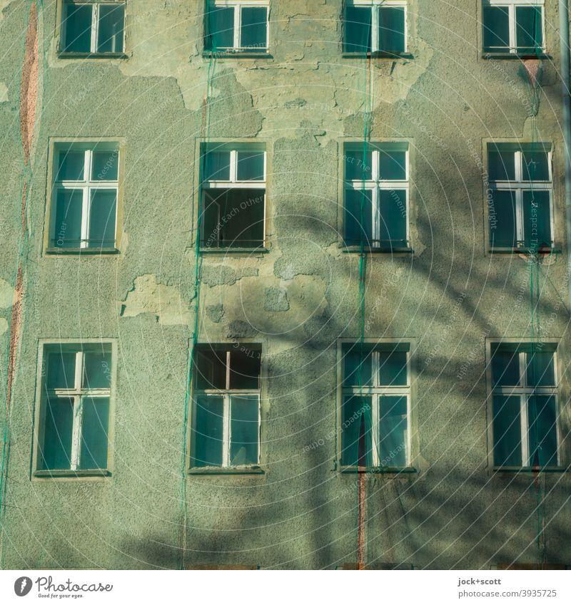 Netz um im Zuge einer Sanierung Schmutz, Staub und Kleinteile aufzuhalten Fassadennetz authentisch Schutz Architektur Renovieren Sicherheitsnetz Sanieren grün