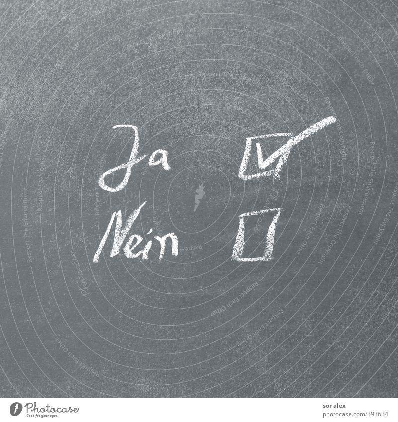 Jein Arbeit & Erwerbstätigkeit Business Erfolg Schriftzeichen Zeichen Hochzeit Sitzung Tafel Wirtschaft Karriere Kreide Werbebranche Politik & Staat wählen