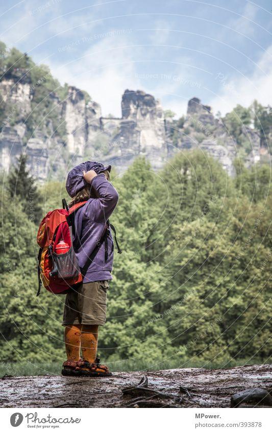 ein zwerg am berg Mensch Kleinkind Mädchen Junge Kindheit 1 3-8 Jahre Umwelt Natur Landschaft Wald Freude Glück Klima wandern Rucksack Sächsische Schweiz Felsen