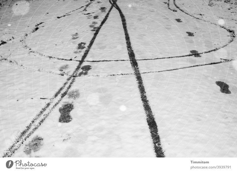 Einige Schneeflocken sowie Spuren von Radfahrern und Fußgängern auf schneebedecktem Weg Schneefall Winter kalt Fahrradfahren Natur weiß schwarz Schwarzweißfoto