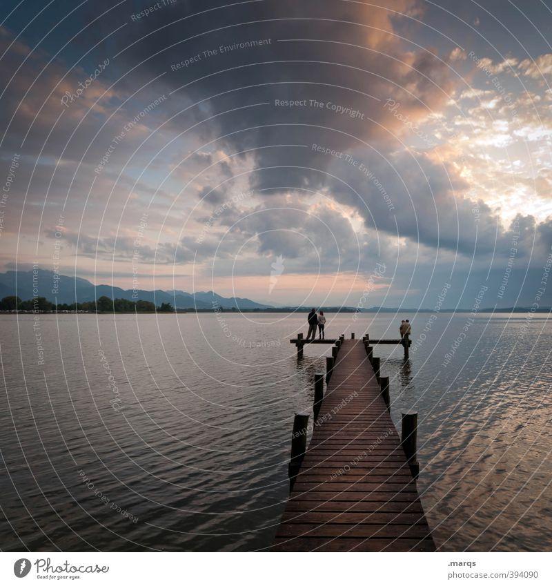 Am Chiemsee Ferien & Urlaub & Reisen Tourismus Ausflug Umwelt Natur Landschaft Himmel Wolken Horizont Sommer Schönes Wetter See Steg Erholung träumen schön