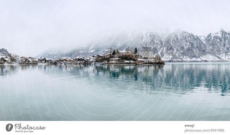 Iseltwald, Berner Oberland, Schweiz im Winter winter schnee berner oberland schweiz Berge u. Gebirge Alpen see wasser thun Brienzersee blau kalt tourismus