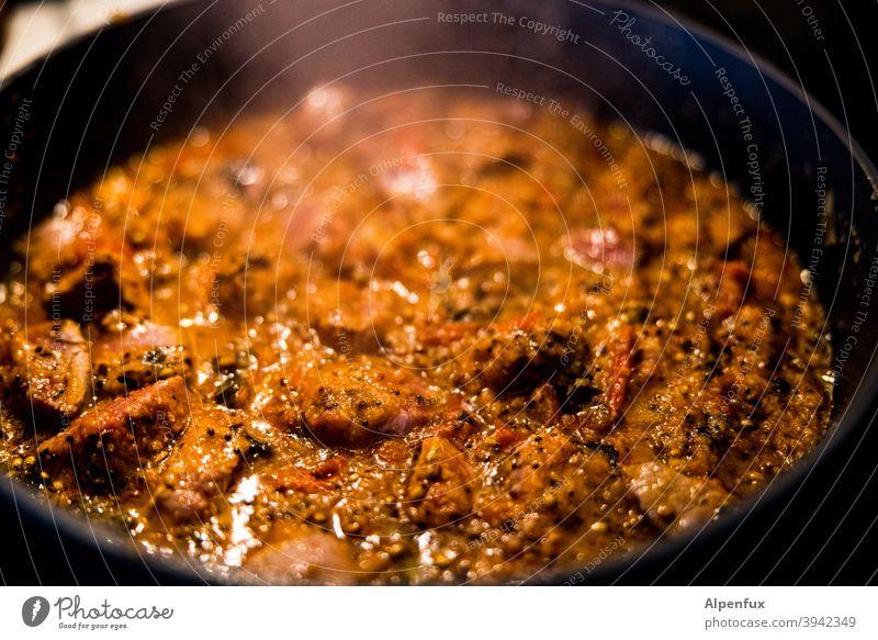 Bhuna Gosht Curry indische küche Kräuter & Gewürze Lebensmittel Ernährung Farbfoto Bioprodukte Küche Lammfleisch Nahaufnahme Fleisch Festessen Pfanne