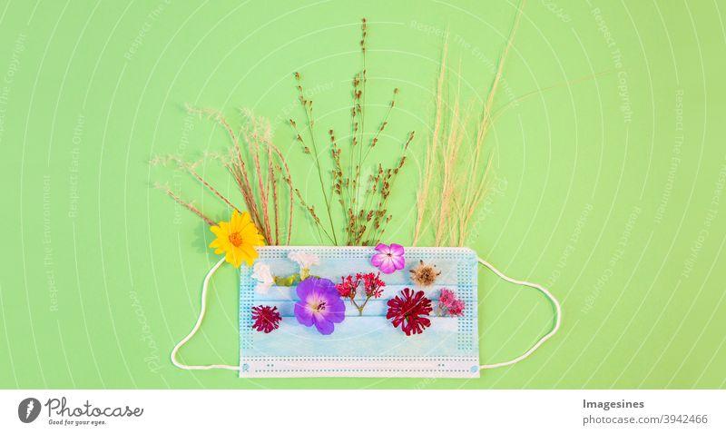 Medizinische Schutzmaske, Blumen und blühendes Gras - Allergene. Frühlings- und Sommerblüte sowie saisonale Allergien und Gesundheitsprobleme. Allergie gegen Pollen Konzept