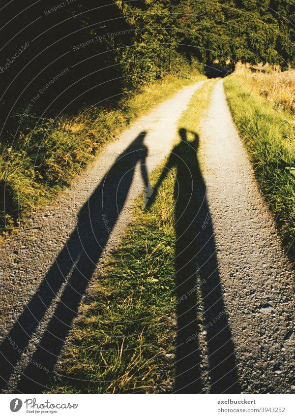 Schatten eines Händchenhaltenden Pärchens auf Feldweg Paar Spaziergang Liebe Romantik romantisch Weg Freizeit Park Fußweg Mann Frau Silhouette Natur Abendsonne