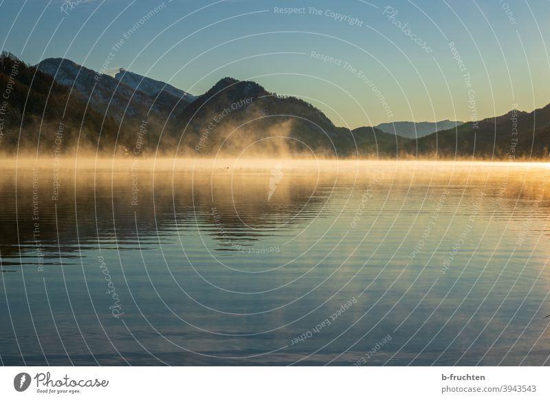 Kalter Morgen am Gebirgssee Morgendämmerung Nebelschleier Nebelstimmung Stimmung morgenlicht Morgenstimmung Menschenleer Außenaufnahme Farbfoto Landschaft Natur