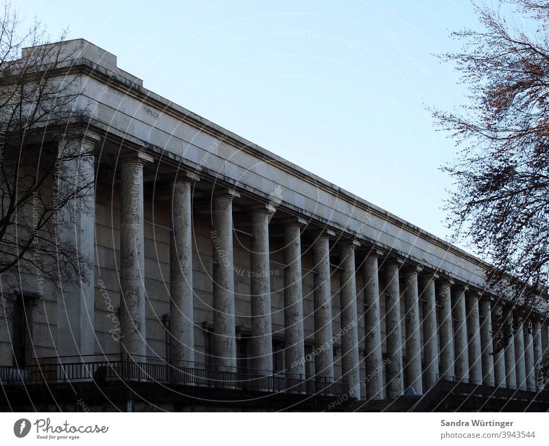 Das Haus der Kunst in München an einem Wintertag Säulen Architektur Gebäude Außenaufnahme Menschenleer Farbfoto Tag Bauwerk Fassade Wand Stadt Stadtzentrum