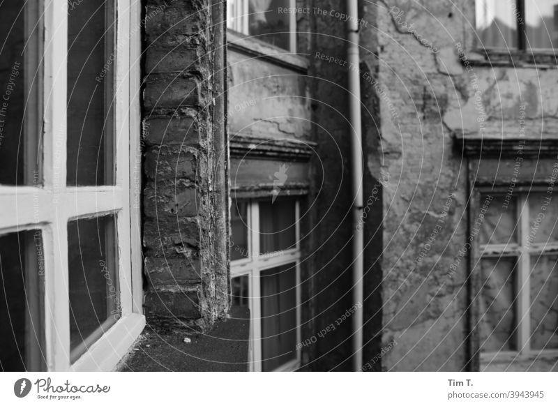 Hinterhof in Prenzlauer Berg Haus Fenster Fassade Stadt Berlin Hauptstadt Außenaufnahme Bauwerk Altbau Altbauwohnung Architektur Hof Altstadt Tag Vergangenheit