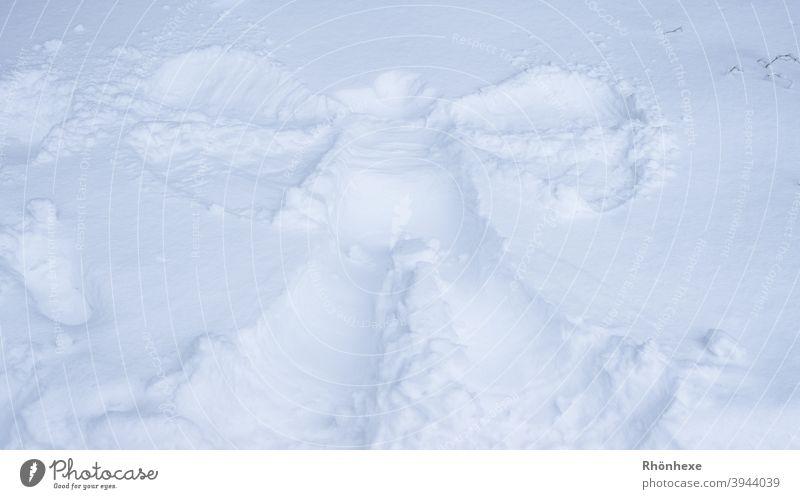Ein Schneeengel Winter kalt weiß Menschenleer Außenaufnahme Farbfoto Engel schneeengel Schneedecke Flügel liegen Freude klein groß gefroren Eis Tag Kontrast