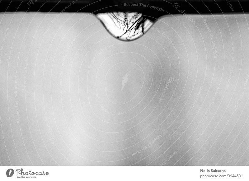 Welt in einem Wassertropfen Makro Ast sehr wenige Minimalismus Hintergrund Minimales Schwarz dunkel Schwarze Textur Abstrakter schwarzer Hintergrund dunkelgrau