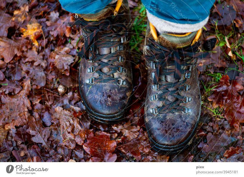 Neujahrsspaziergang 2021 wandern Laubwald Blätter Boden laufen Spaziergang Natur Wanderschuhe Schuhe Waldboden flora braun Schleife Hose Herbst Winter Regen