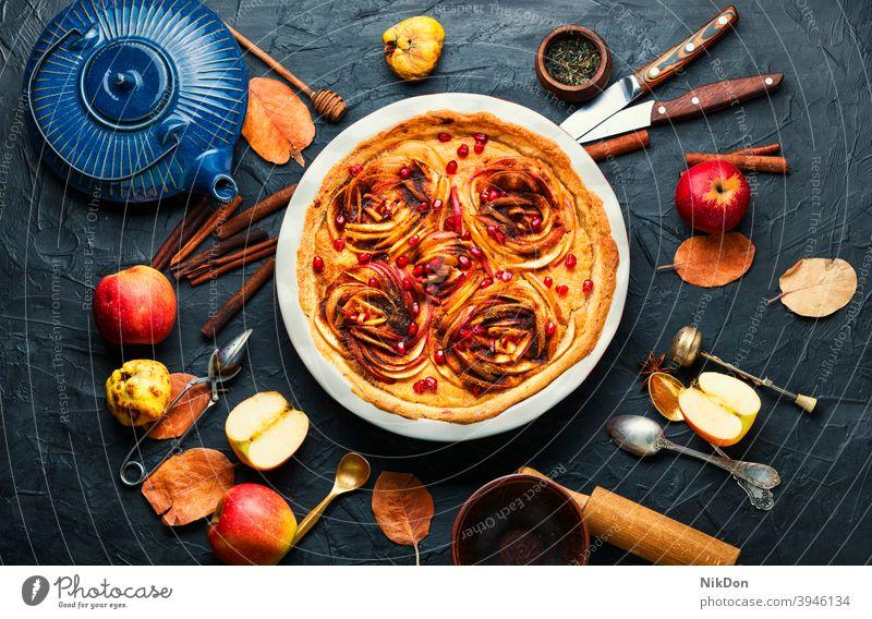 Appetitlicher Apfelkuchen Pasteten Frucht Kuchen Dessert Lebensmittel selbstgemacht süß Herbst gebacken Torte Kruste lecker Zucker Amerikaner rustikal Scheibe