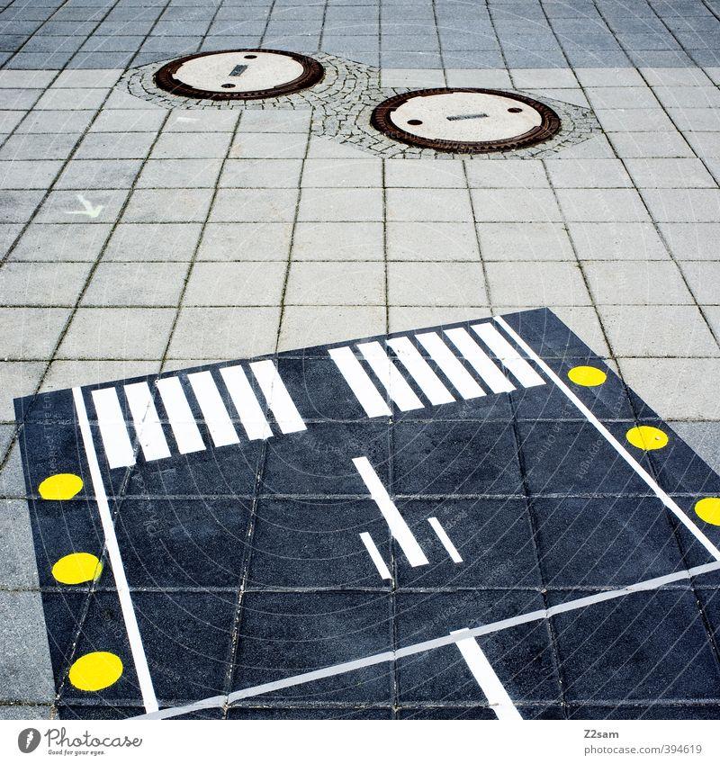 geometrisch Architektur Verkehr Verkehrswege dunkel eckig einfach kalt modern Stadt blau gelb Sicherheit Beginn Design innovativ Kontrolle Netzwerk Ordnung
