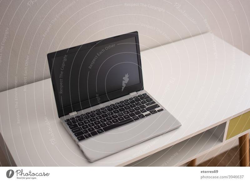 Moderner Arbeitsbereich mit Laptop auf dem Schreibtisch modern Job heimwärts Bildschirm Blume Stock hölzern Tisch Wand Attrappe im Innenbereich Foto Atelier