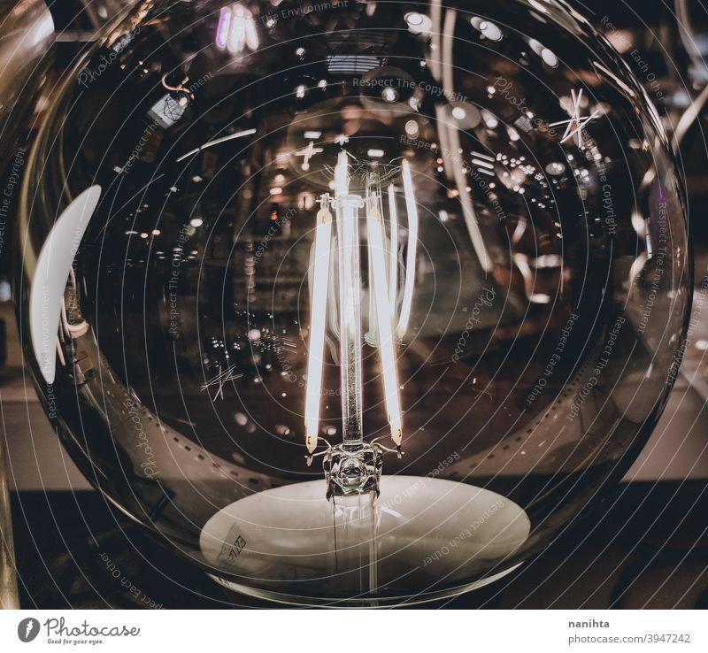 Moderne und dekorative Filament-Glühbirne Wolfram Glühdraht Knolle Energie Elektrizität rustikal altehrwürdig Leuchtdiode Kreativität cool retro glühend