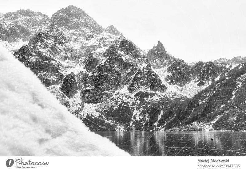 Schwarz-Weiß-Bild von Tatra-Gebirge im Winter, Polen. Berge Landschaft schön Schnee Morskie Oko schwarz auf weiß See Auge des Meeres Eis Tatra-Nationalpark kalt