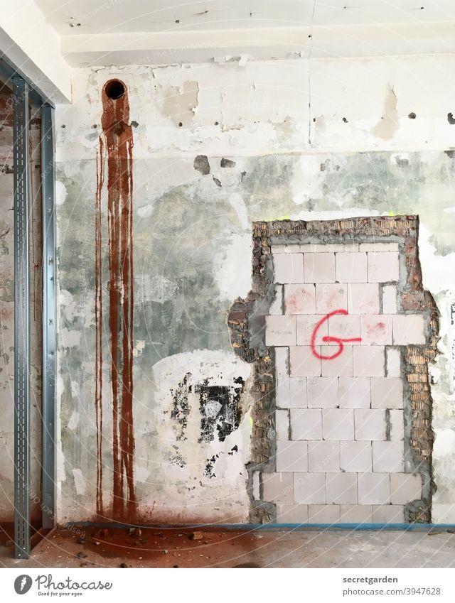 Kotzende Wand (assoziative Bildbeschreibung) Baustelle Menschenleer Innenaufnahme Konstruktion Planung Architektur Umbauen umbauarbeiten Staub Ständerbauweise