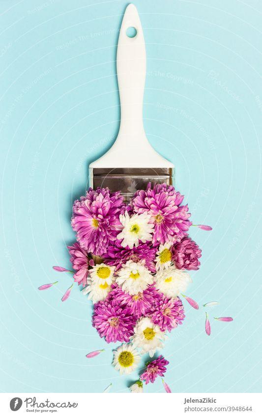 Kreatives Layout aus rosa und weißen Blumen und Pinsel auf pastellblauem Hintergrund Zusammensetzung Design Postkarte geblümt Sommer Hochzeit Natur schön