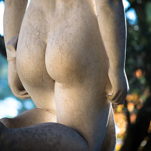 wohlgeformtes Gesäß einer knienden nackten Frau - Statue aus Stein. nacktes Gesäß Hintern Arsch feminin Rückansicht Erotik ästhetisch Körper Hände