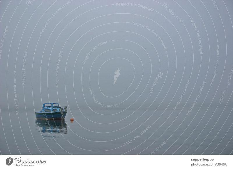 nissum Winter Einsamkeit grau Wasserfahrzeug Nebel Fjord friedlich