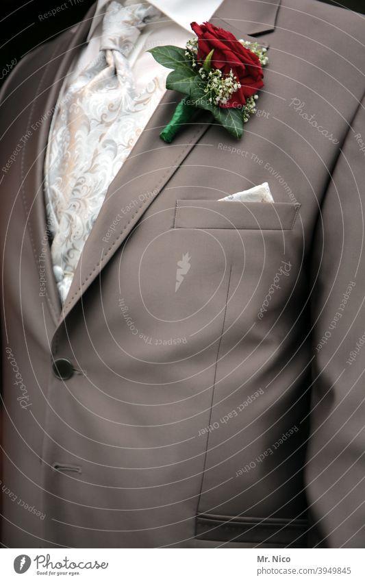 elegant Stil Lifestyle Hochzeit Accessoire Anzug Bräutigam Bekleidung Tuch schick Mode kopflos Einstecktuch Ehemann Feste & Feiern Krawatte Hemd Oberkörper edel