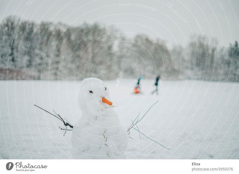 Ein Schneemann in einer Winterlandschaft weiß winterlich Karotte Landschaft Schneelandschaft Wintertag