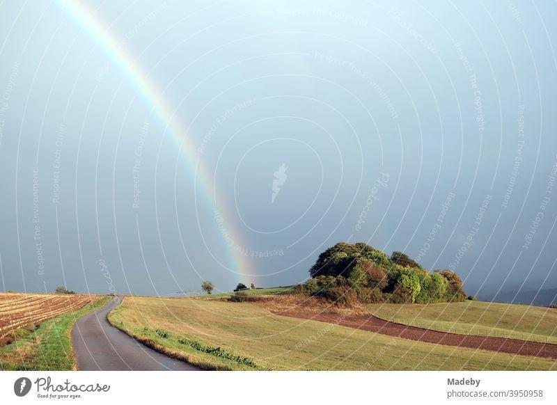 Regenbogen nach einem Gewitter in Gembeck am Twistetal im Kreis Waldeck-Frankenberg in Hessen Wetter Niederschlag Wolken Feld Weide Acker Landschaft Provinz