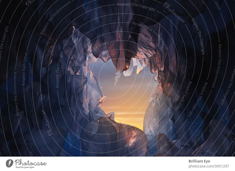Eishöhle im Abendlicht 3d abstrakt arktische Hintergrund blau Höhle Klettern kalt bedeckt Kristalle Tageslicht Frost gefroren Gletscher Gletscherhöhle Golfloch