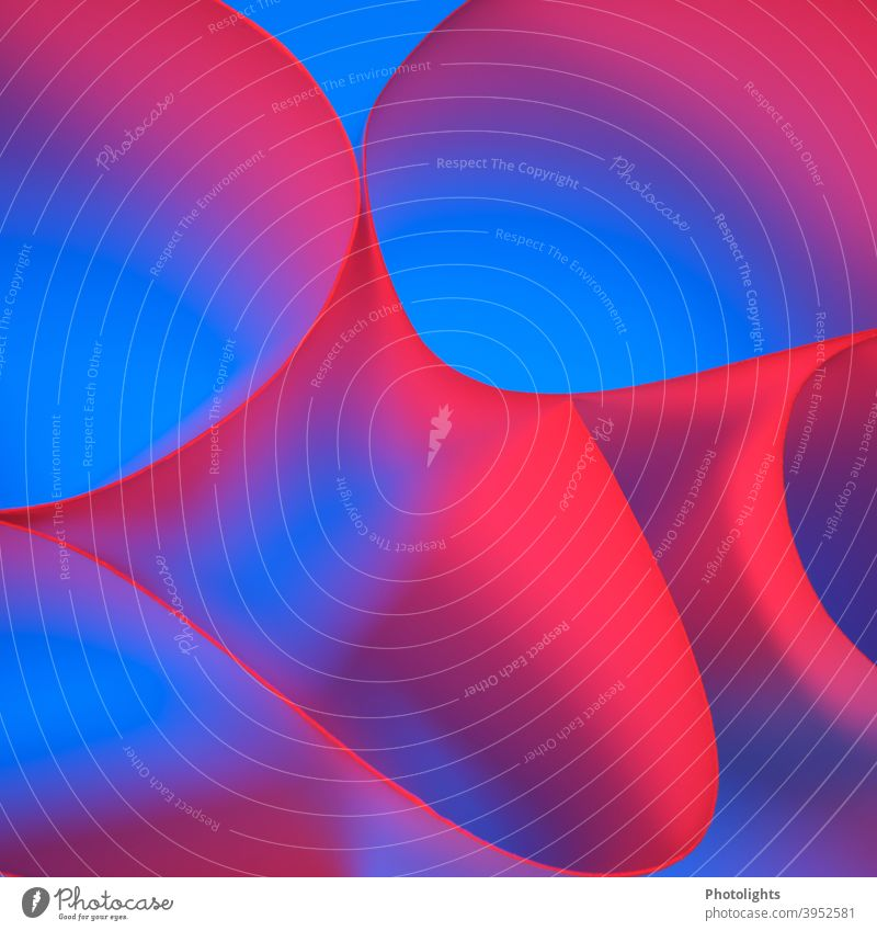 Rote Linien auf blauem Hintergrund Form geschwungen rot violett Papier Farbfoto Studioaufnahme Nahaufnahme mehrfarbig Muster Strukturen & Formen abstrakt Farbe