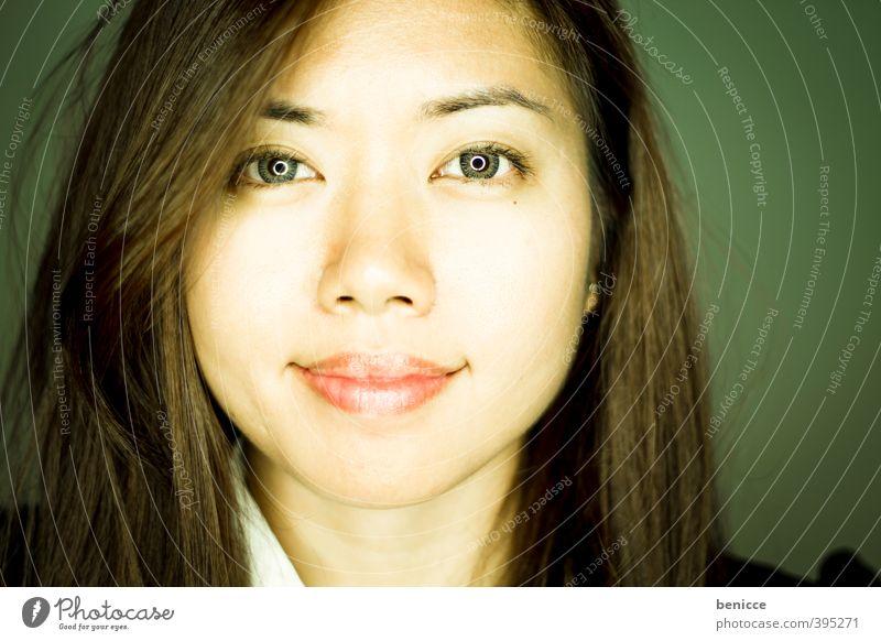 Asia Mensch Frau Gesicht lachen Business Lächeln Asien Werkstatt Asiate frontal Geschäftsfrau