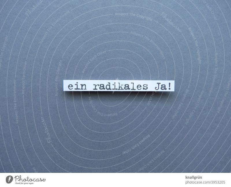 Ein radikales Ja! Zustimmung positiv Optimist Stimmung Optimismus fanatisch Buchstaben Wort Satz Letter Sprache Text Schriftzeichen Typographie Kommunikation