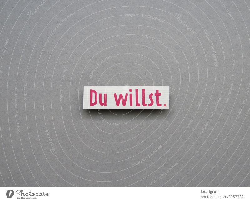 Du willst. wollen Wille Erwartung Text Schriftzeichen Buchstaben Wort Mitteilung Typographie Menschenleer Kommunikation Sprache Letter Verständigung