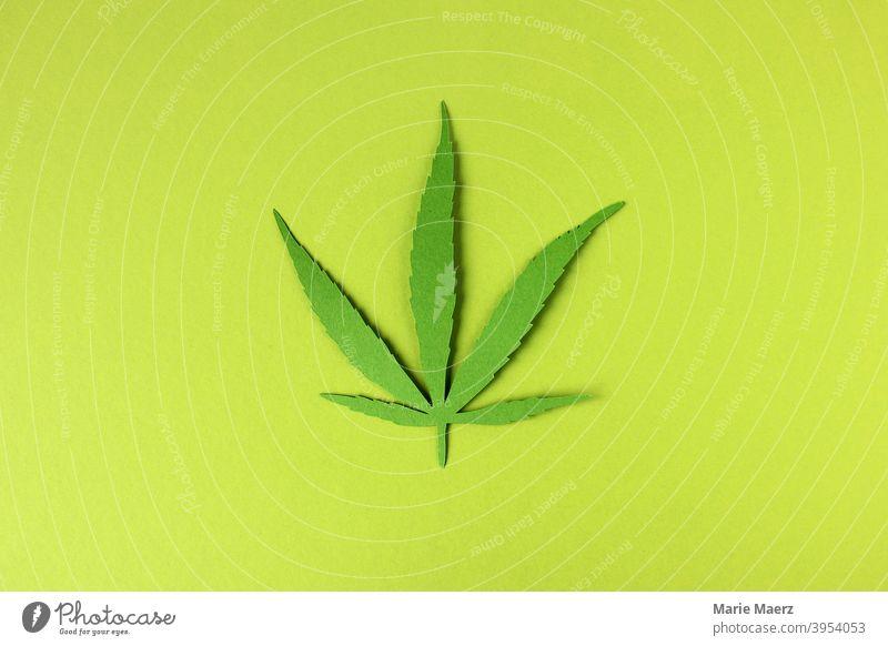 Hanfblatt - Papier-Illustration auf grünem Hintergrund Pflanze Blatt Marihuana Medizin Cannabis Medikament organisch Haschisch Legalisierung medizinisch