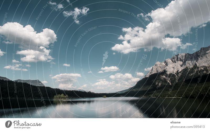 EIBSEE Natur Landschaft Wasser Himmel Wolken Sommer Schönes Wetter Baum Wald Felsen Alpen Berge u. Gebirge Zugspitze Schneebedeckte Gipfel Seeufer Eibsee
