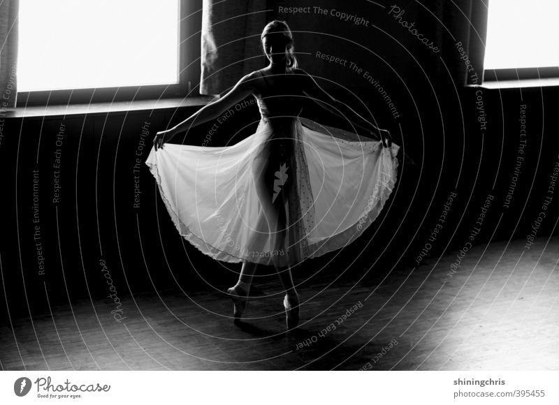 tanzt tanzt sonst sind wir verloren Mensch Jugendliche Junge Frau Erwachsene Fenster 18-30 Jahre feminin Kunst Körper Tanzen Zufriedenheit stehen Körperhaltung Kleid dünn durchsichtig