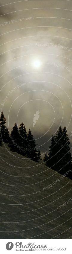 hinter den Wolken... Beleuchtung Baum Berghang Berge u. Gebirge Sonne Schnee bedecken hindurch