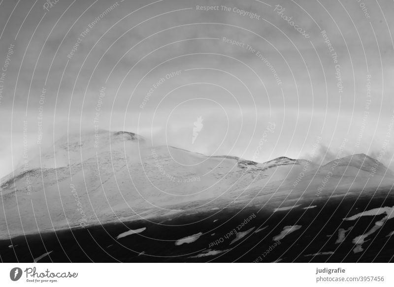 Island Landschaft Berge u. Gebirge Wolken Schnee Schneebedeckte Gipfel Klima kalt Natur Stimmung Umwelt wild Wetter