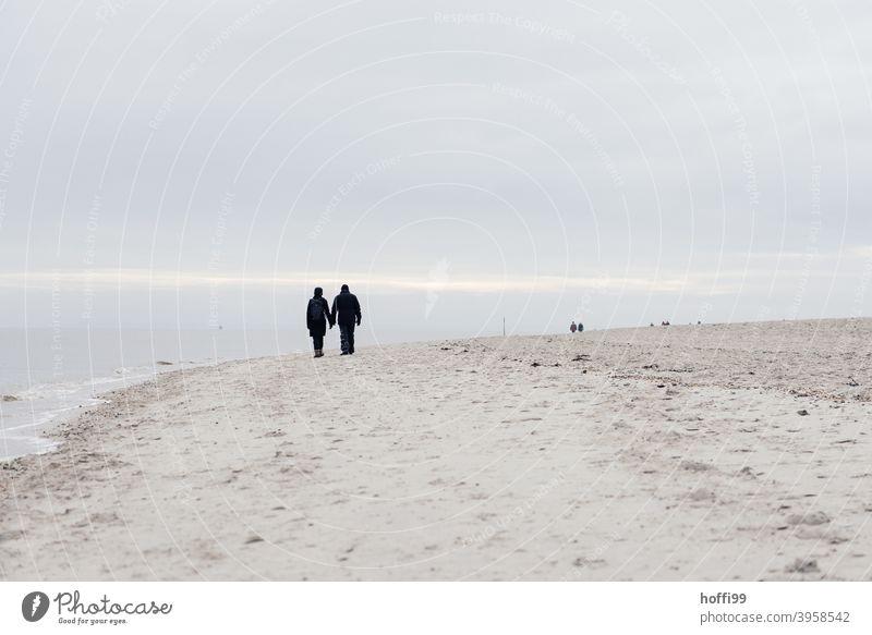zwei Menschen spazieren am winterlichen Stand entlang. Partnerschaft Silhouette wandern 2 Sand Strand Nordsee Küste Zusammensein Paar Nationalpark Bewegung