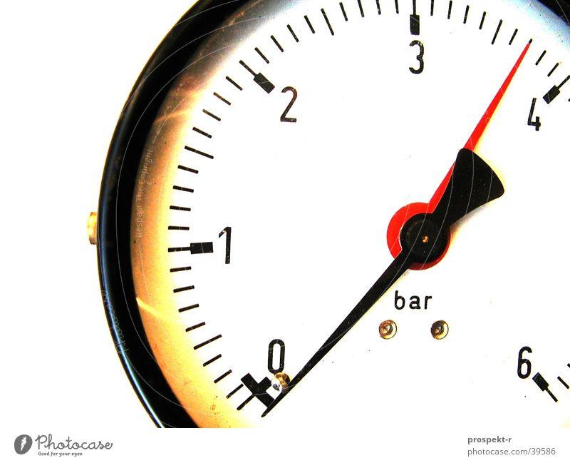 Bar weiß rot schwarz Industrie rund Messinstrument Druck Messanzeige Hochdruck Armatur Druckanzeige