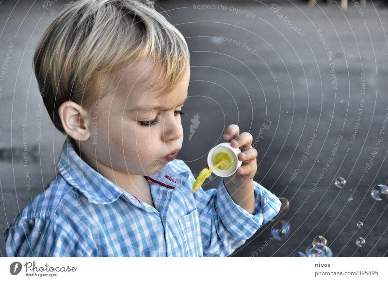 Seifenblasen Mensch Kind blau Freude Gesicht Spielen Junge Haare & Frisuren grau Kopf fliegen maskulin Kindheit Zufriedenheit frei Schönes Wetter
