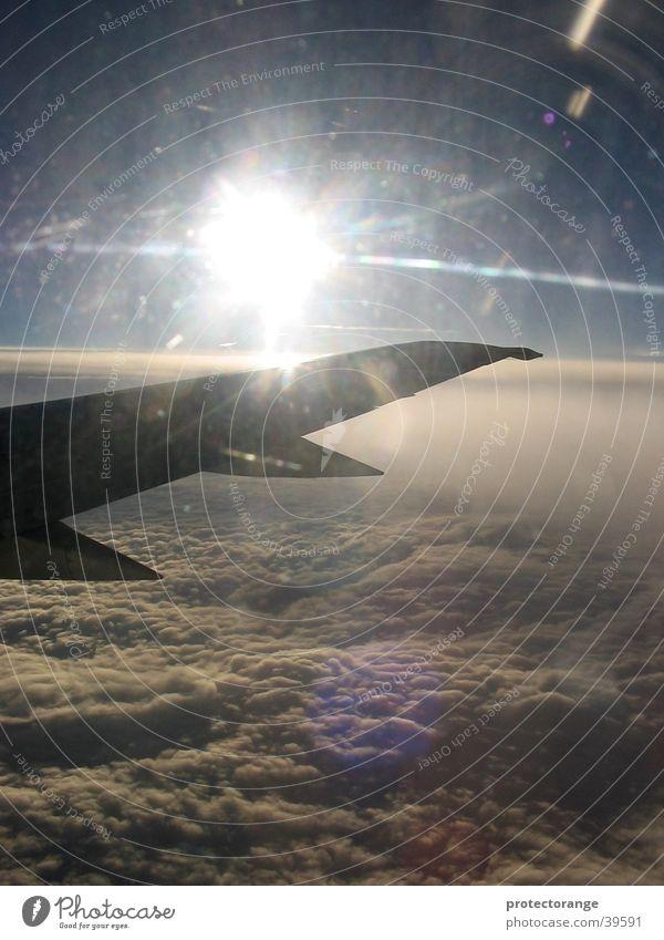 dem gewitter entflohen Himmel Sonne Wolken Flugzeug Luftverkehr Tragfläche