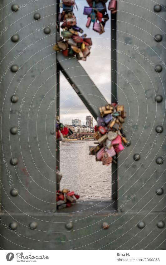 Liebesschlösser an Mainbrücke in Frankfurt mit Blick auf die Stadt love Brücke Symbol frankfurt Durchblick Eisenbrücke Erinnerungen Stahlbrücke Nieten